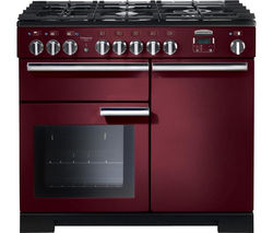 RANGEMASTER Professional Deluxe 100 Dual Fuel Range Cooker - Cranberry & Chrome