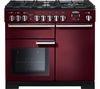 RANGEMASTER Professional Deluxe 100 Dual Fuel Range Cooker - Cranberry & Chrome