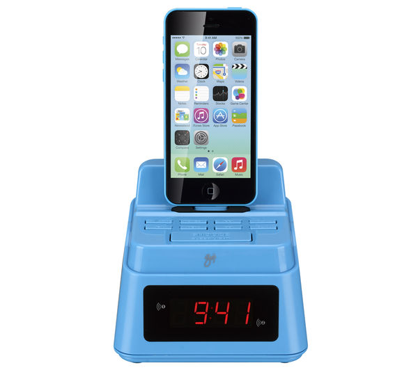 buy goji gcrlin14 analogue clock radio with lightning connector blue free delivery currys. Black Bedroom Furniture Sets. Home Design Ideas