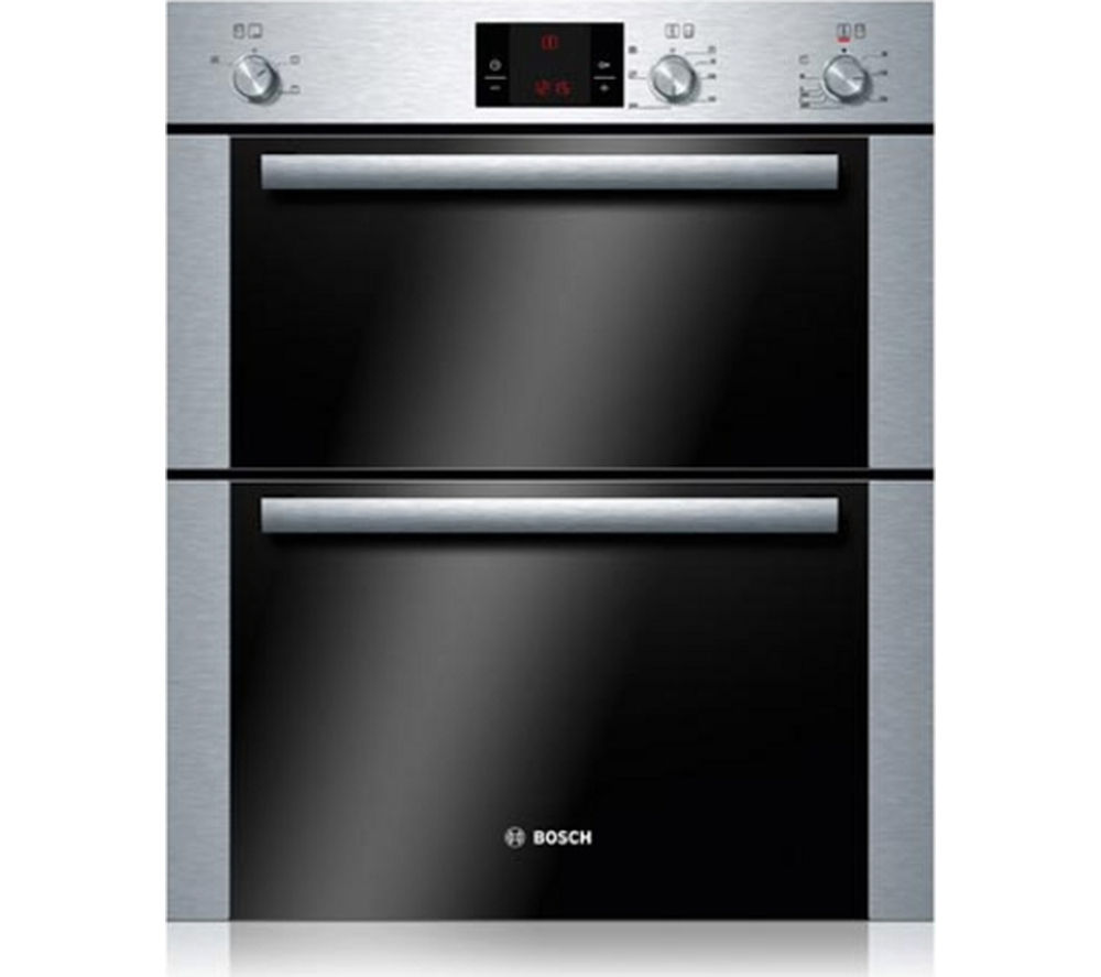 BOSCH  HBN13B251B Electric Built-under Double Oven - Brushed Steel +  PBH6B5B60 Gas Hob - Stainless Steel