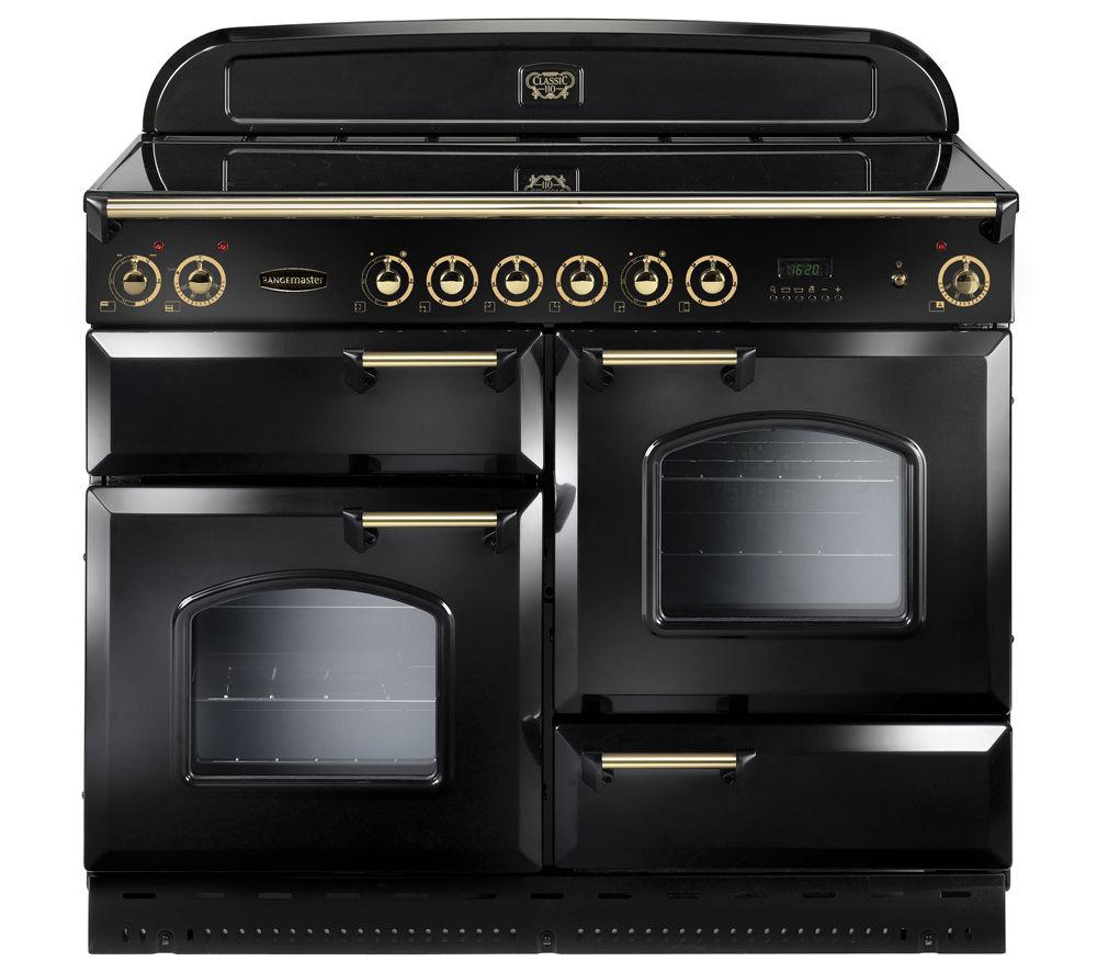 Rangemaster Classic 110 Electric Ceramic Range Cooker  Black & Brass Black