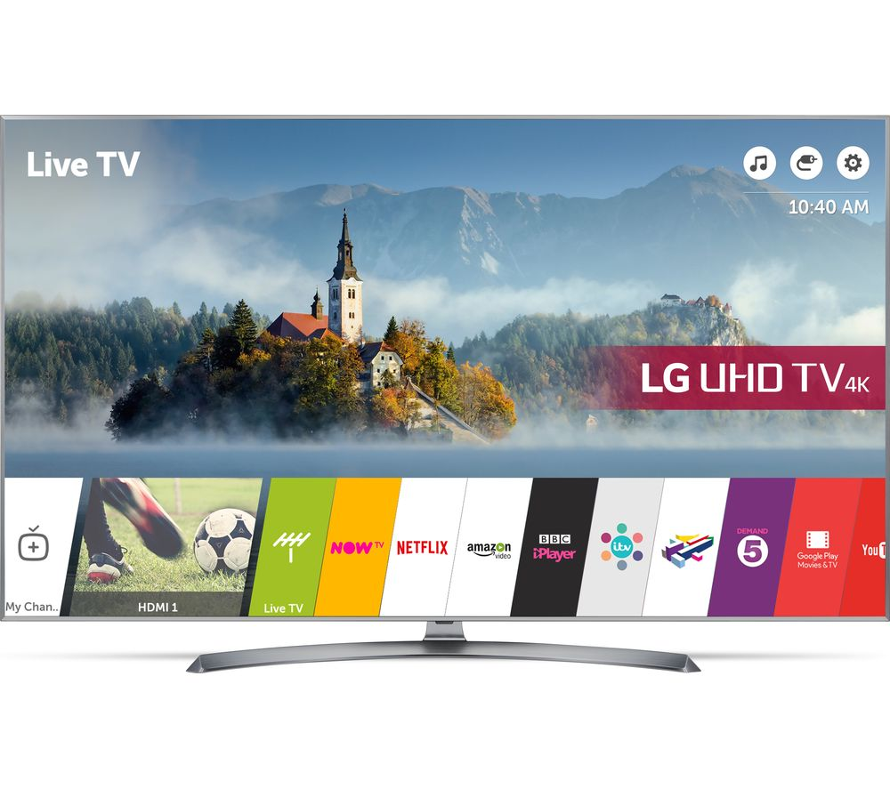 "LG 49UJ750V 49"" Smart 4K Ultra HD HDR LED TV + S1HDM315 HDMI Cable with Ethernet - 1 m"