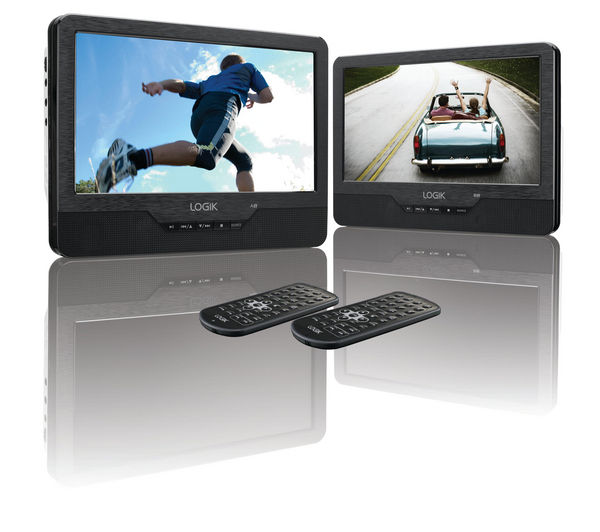 LOGIK L9DUALM13 Dual Screen Portable DVD Player - Black & White