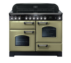 RANGEMASTER Classic Deluxe 110 Electric Range Cooker - Olive Green & Chrome