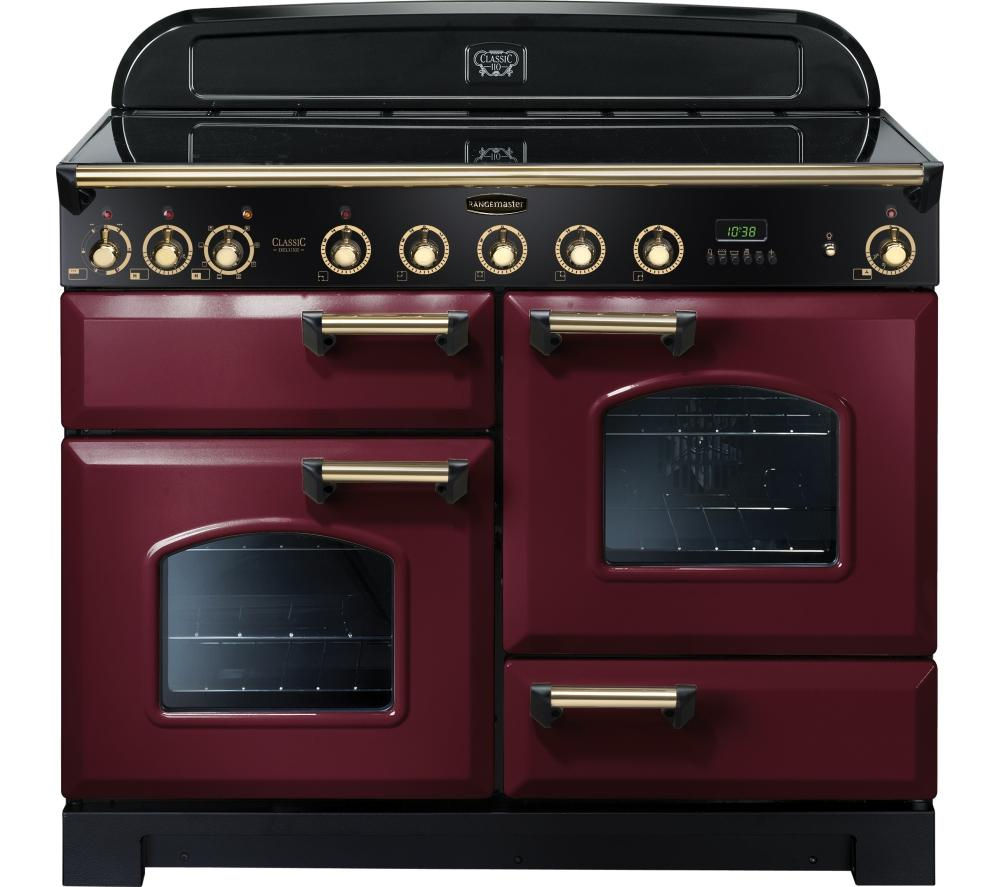 RANGEMASTER Classic Deluxe 110 Electric Induction Range Cooker - Cranberry & Brass