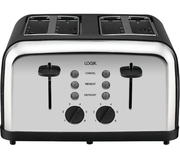 Black And Silver Kitchen Appliances: Buy LOGIK L04TBK14 4-slice Toaster - Black & Silver