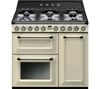 SMEG Victoria TR93P 90 cm Dual Fuel Range Cooker - Cream & Stainless Steel