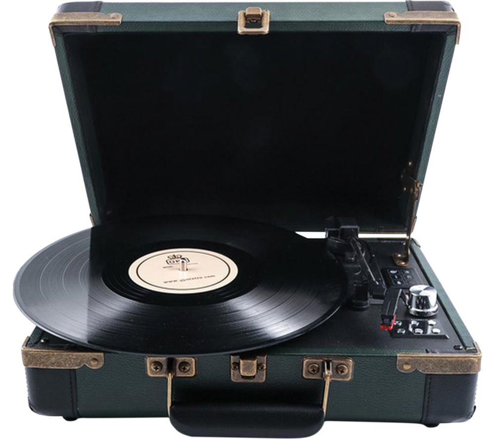 Click to view more of GPO  Ambassador Portable Wireless USB Turntable - Green, Green