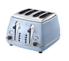 DELONGHI Icona CTOV4003AZ Vintage 4-Slice Toaster - Azure Blue