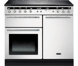 RANGEMASTER Hi-LITE 100 Electric Induction Range Cooker - White & Chrome