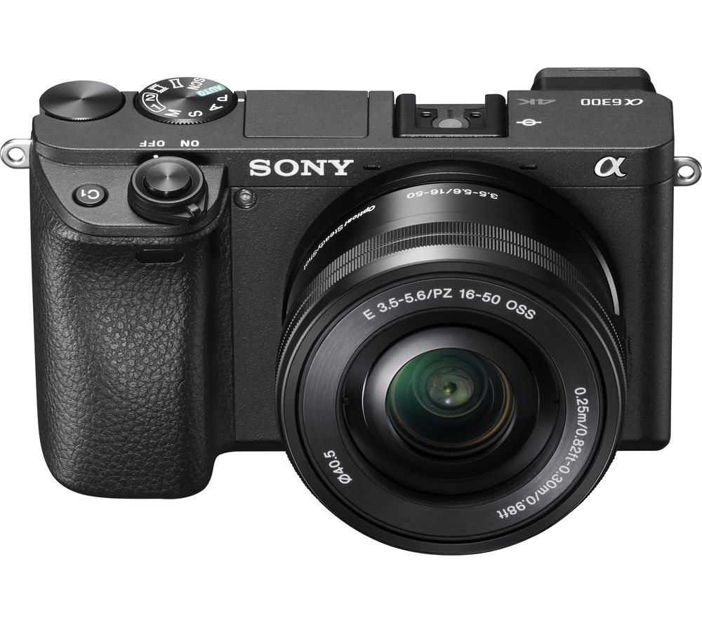 Sony a6300 Compact System Camera with 16-50 mm f/3.5-5.6 Wide-angle Zoom Lens - Black, Black