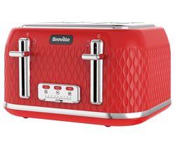 BREVILLE Curve VTT914 4-Slice Toaster - Red