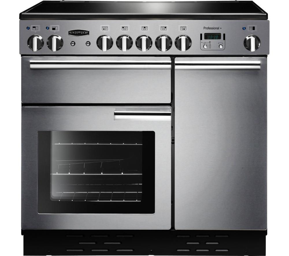 RANGEMASTER  Professional 90 Electric Ceramic Range Cooker  Stainless Steel & Chrome Stainless Steel