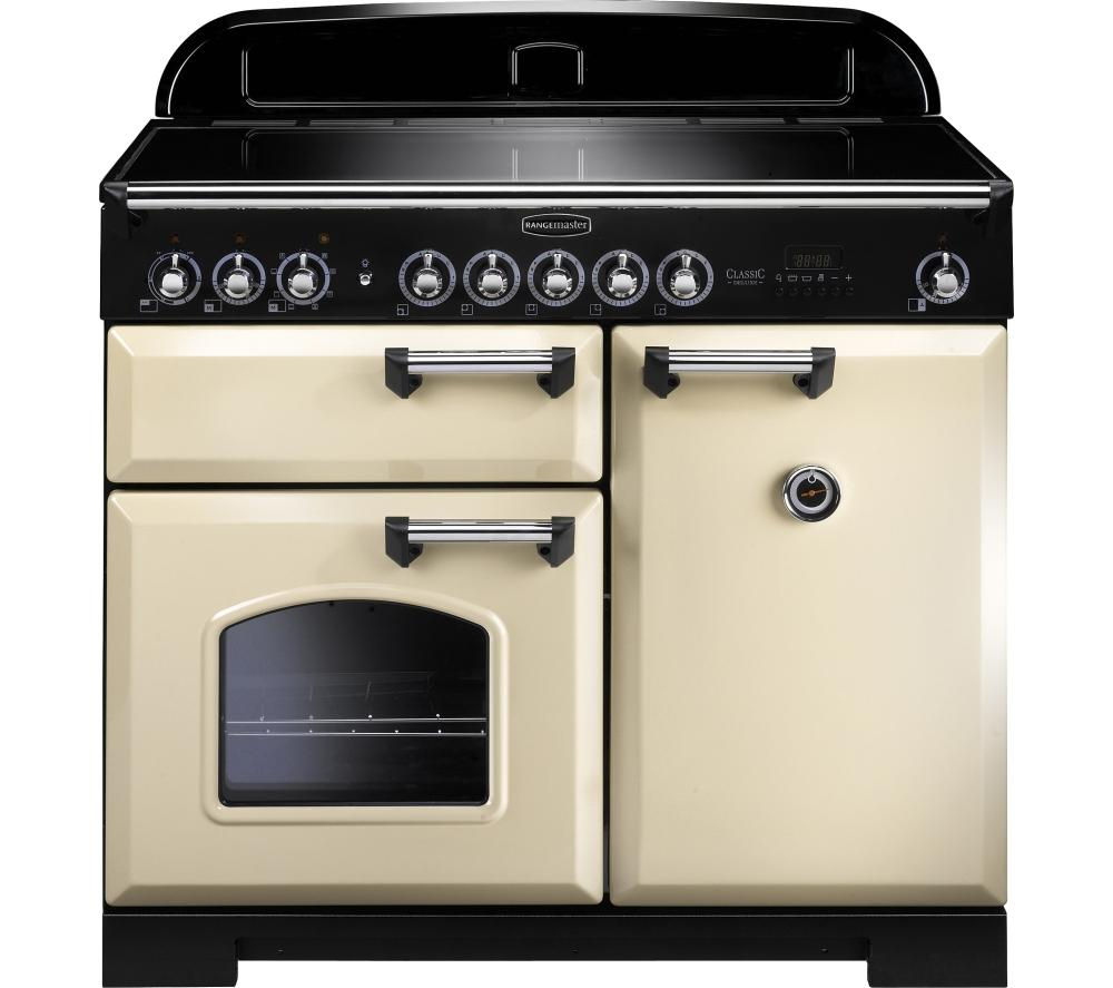 RANGEMASTER Classic Deluxe 100 Electric Induction Range Cooker - Cream & Chrome