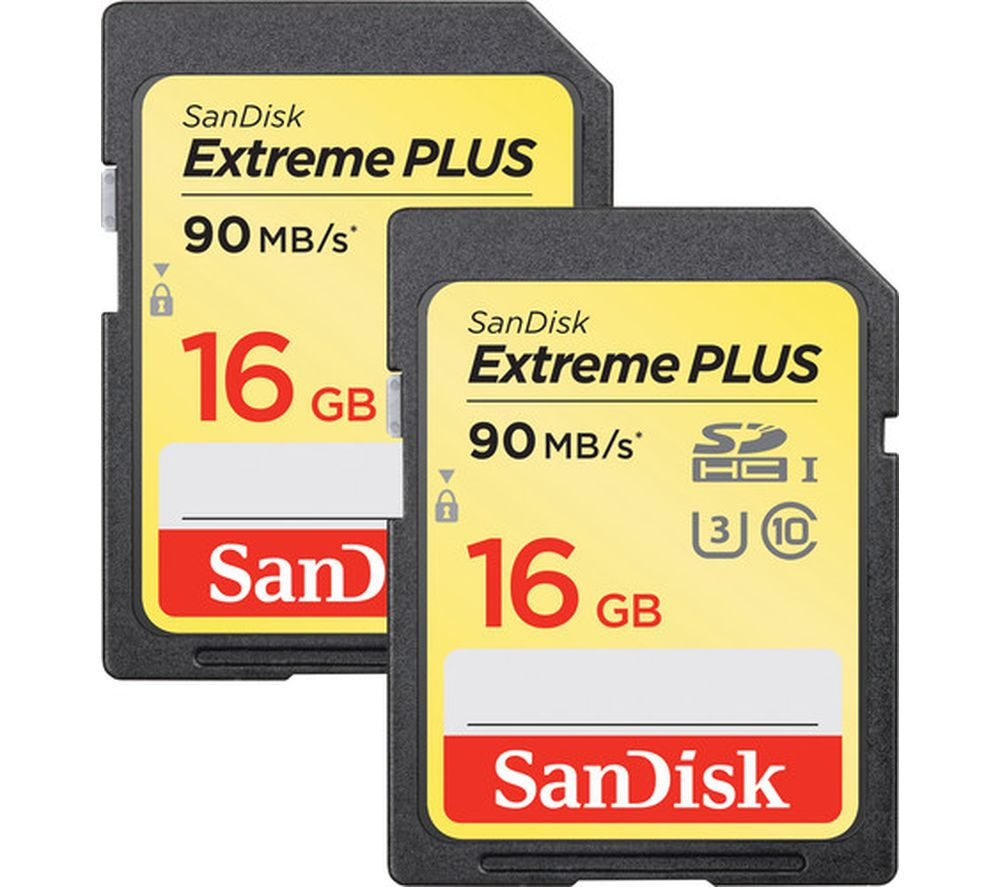 SANDISK Extreme Plus Class 10 SD Memory Card Twin Pack - 16 GB