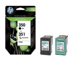 HP 350/351 Tri-colour & Black Ink Cartridges - Twin Pack