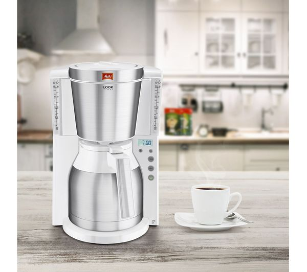 Buy MELITTA Look IV Therm Timer Filter Coffee Machine - White & Stainless Steel Free Delivery ...