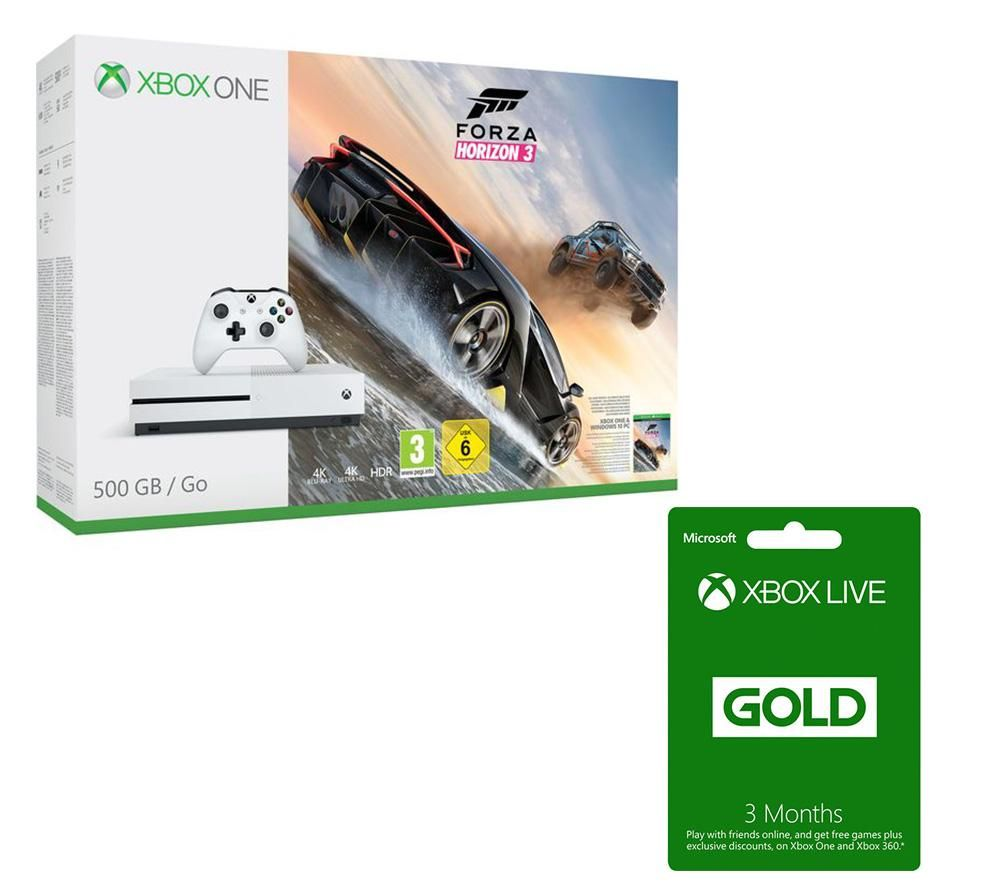 Microsoft Xbox One S with Forza Horizon 3 & Xbox LIVE GOLD Membership 3 Month Subscription Bundle - 500 GB