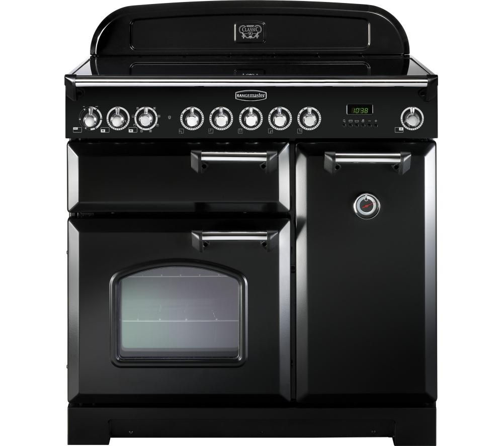 RANGEMASTER Classic Deluxe 90 Electric Range Cooker - Black & Chrome