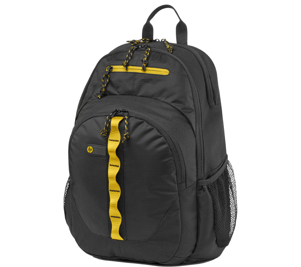 "Image of HP Sport 15.6"" Laptop Backpack - Black & Yellow, Black"