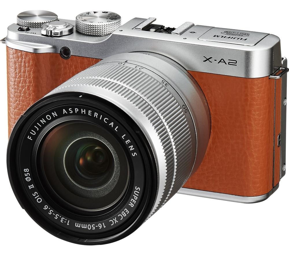 FUJIFILM X-A2 Compact System Camera with XC 16-50 mm f/3.5-5.6 Zoom Lens - Tan