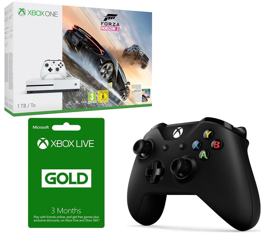 MICROSOFT Xbox One S Forza Horizon 3 3 Month Xbox LIVE Gold Membership & Controller Bundle Gold