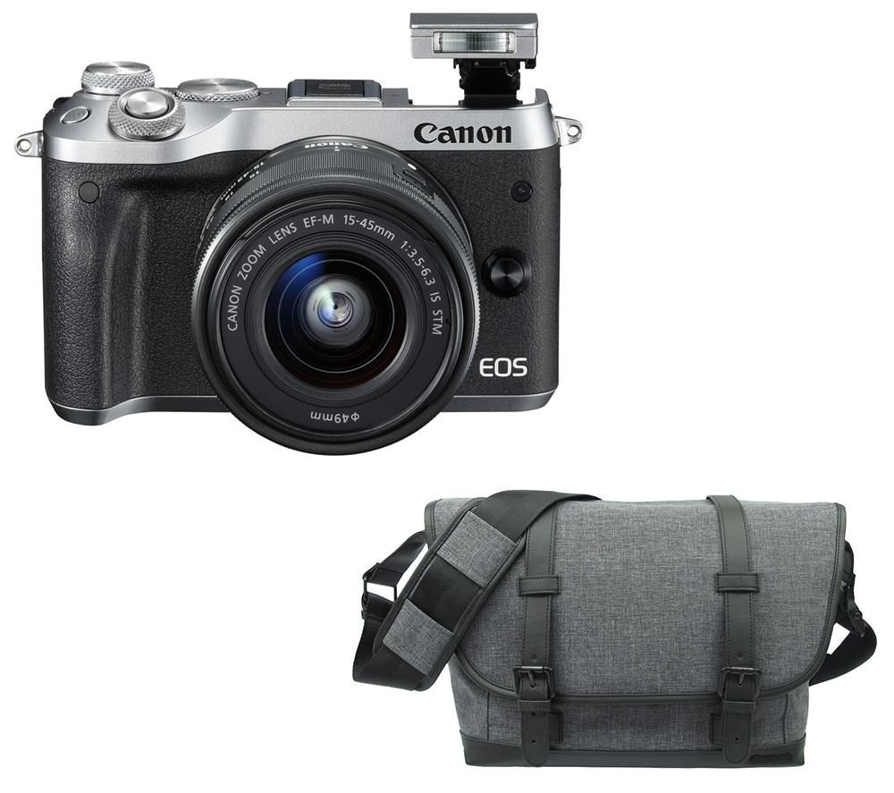 CANON EOS M6 Mirrorless Camera, 15-45 mm f/3.5-6.3 Lens & Bag Bundle