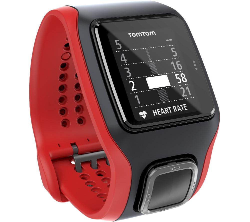 Tomtom Multi-Sport Cardio GPS Sports Watch - Black & Red, Red