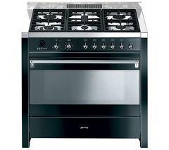 SMEG Opera 90 Dual Fuel Range Cooker - Black & Stainless Steel