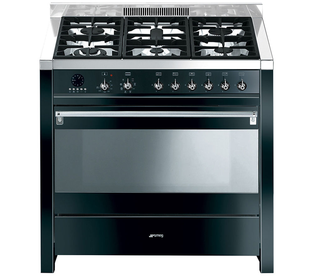 SMEG Opera 90 Dual Fuel Range Cooker - Black & Stainless Steel