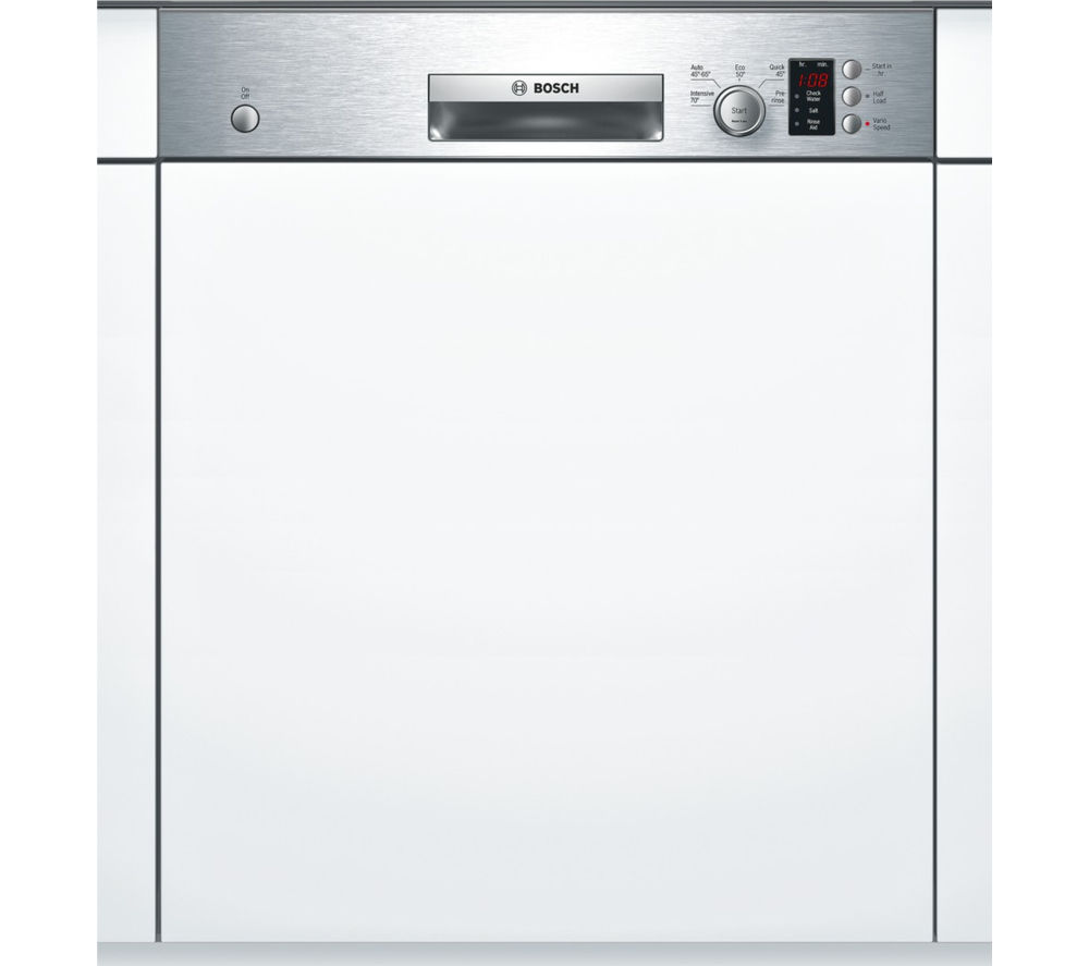 BOSCH  SMI50C15GB Fullsize SemiIntegrated Dishwasher  Stainless Steel Stainless Steel