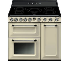 SMEG TR93IP 90cm Electric Induction Range Cooker - Cream and Stainless Steel