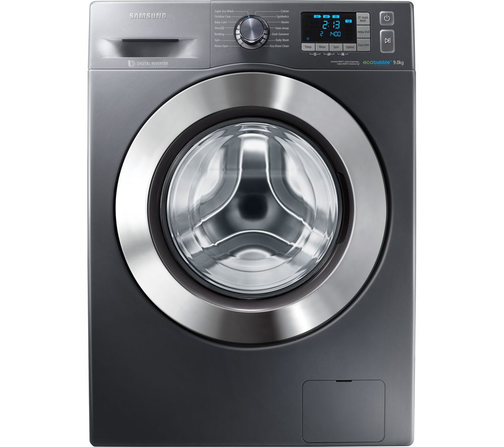 SAMSUNG  ecobubble WF90F5E5U4X Washing Machine - Graphite +  Futura TCFS93BGP Condenser Tumble Dryer - White