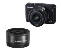 Canon EOS M10 18MP HD Compact System Camera (Black) + EF-M 22 mm f/2 STM Pancake Lens