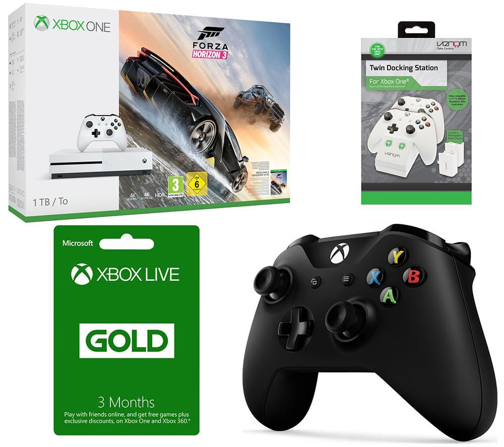 MICROSOFT Xbox One S Forza Horizon 3 3 Month Xbox LIVE Gold Membership & Accessories Bundle Gold