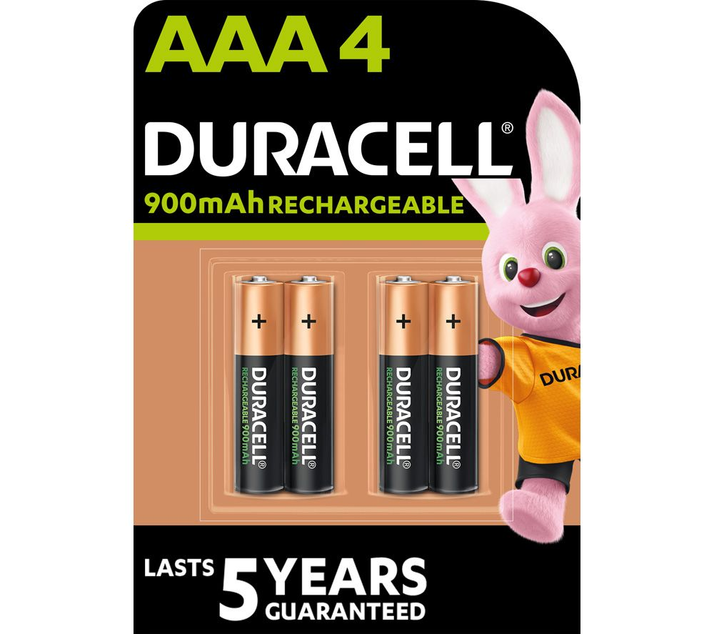 DURACELL HR03/DX2400 Stay Charged AAA Rechargeable Batteries - 4 Battery Pack