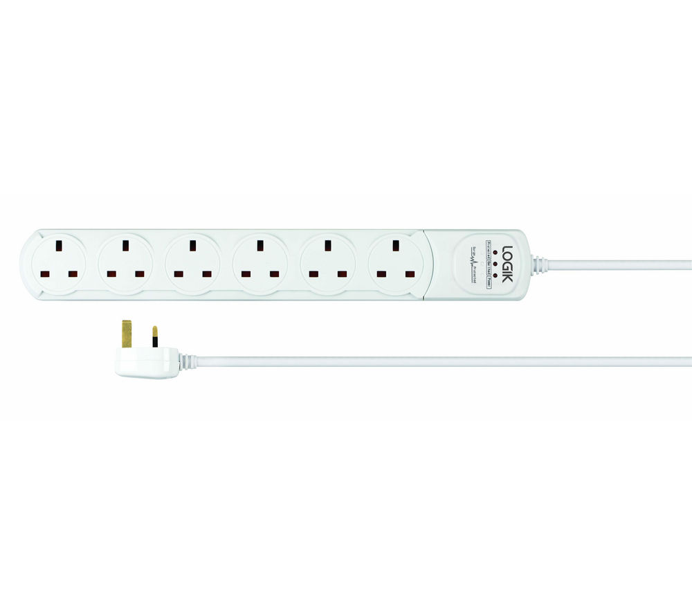 LOGIK L6WSPEL13 6-Way Extension Cable with Surge Protection