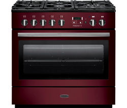 RANGEMASTER Professional+ FX 90 Dual Fuel Range Cooker - Cranberry & Chrome