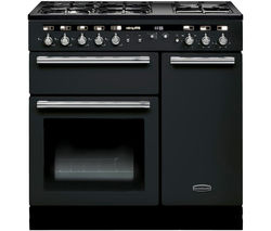 RANGEMASTER Hi-Lite 90 Dual Fuel Range Cooker - Black & Chrome