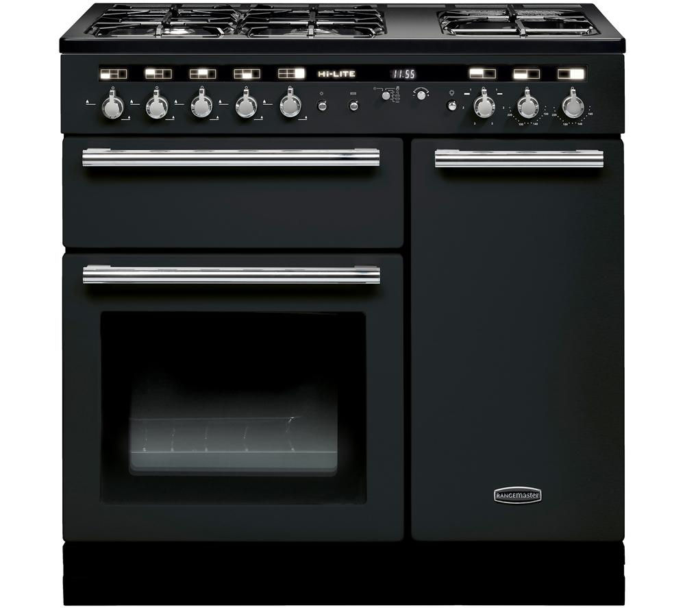 RANGEMASTER Hi-Lite 90 Dual Fuel Range Cooker - Black & Chrome