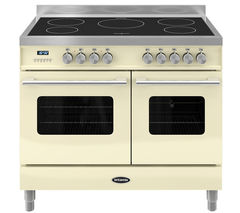 BRITANNIA Delphi 100 Twin Electric Induction Range Cooker - Gloss Cream & Stainless Steel