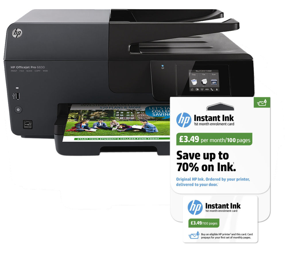 hp officejet pro 6830 all in one wireless printer instant ink bundle deals pc world. Black Bedroom Furniture Sets. Home Design Ideas