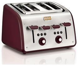 TEFAL Maison TT7705UK 4-Slice Toaster - Stainless Steel & Pomegranate Red