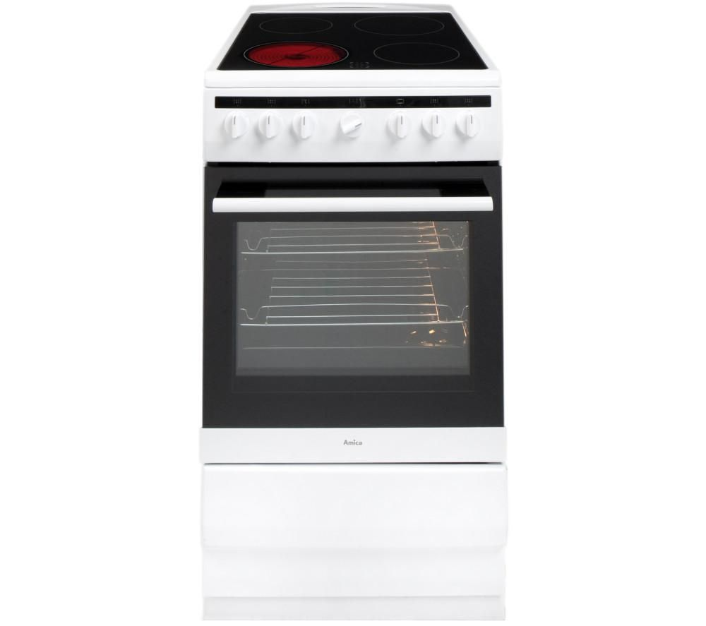 AMICA 508CE2Ms(W) 50 cm Electric Ceramic Cooker - White