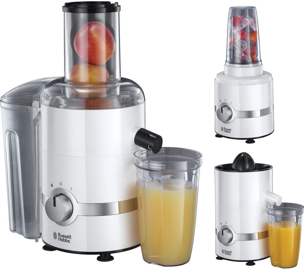RUSSELL HOBBS 22700 3-in-1 Ultimate Juicer, Citrus Press & Blender - White & Chrome