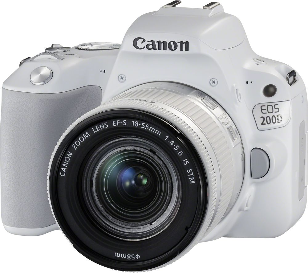 Image of CANON EOS 200D DSLR Camera with EF-S 18-55 mm f/4-5.6 DC Lens - White, White