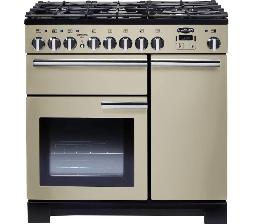 RANGEMASTER  Professional Deluxe 90 Dual Fuel Range Cooker  Cream & Chrome Cream
