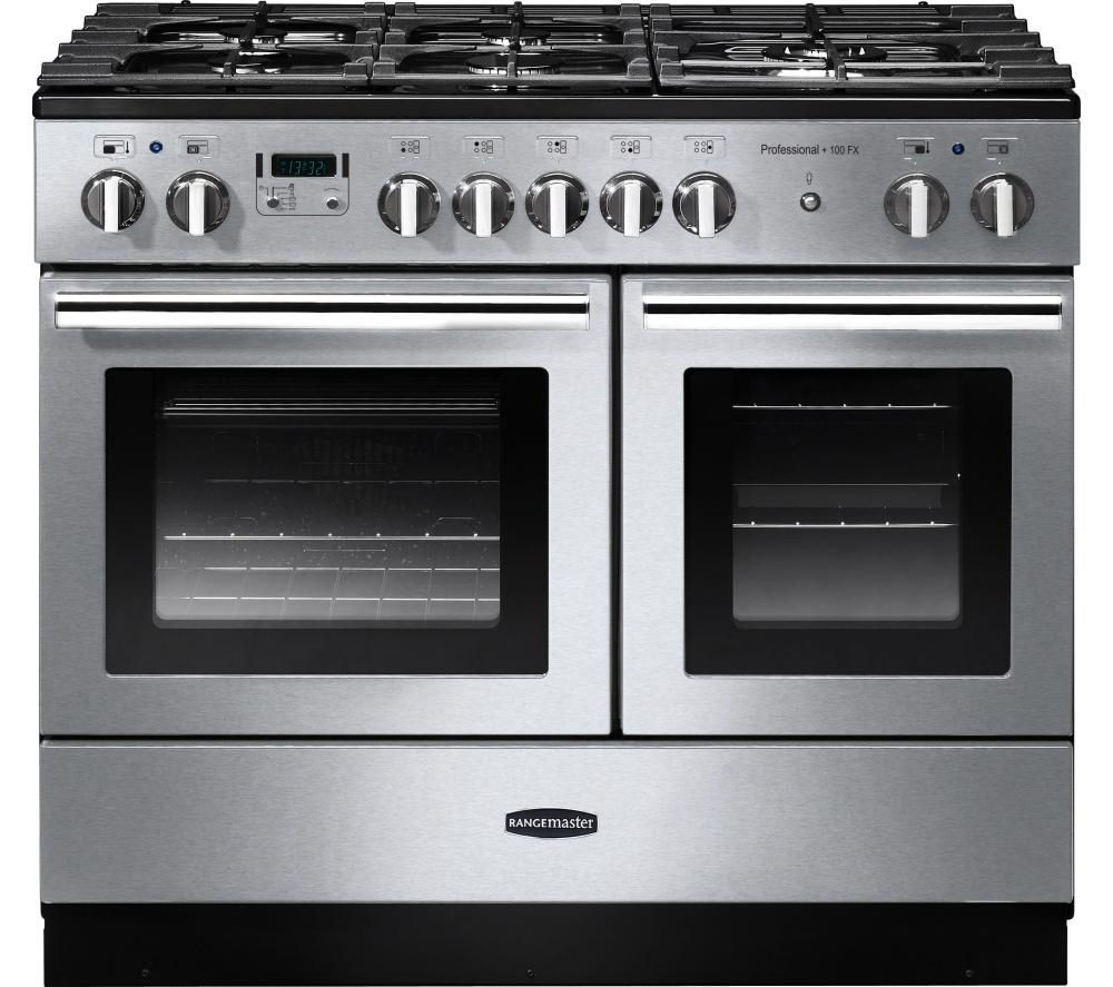 RANGEMASTER Professional+ FX 100 Dual Fuel Range Cooker - Stainless Steel & Chrome