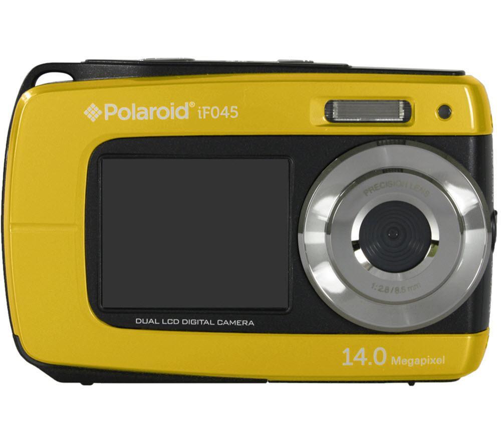 POLAROID  IF045 Tough Compact Camera - Yellow +  Hard Shell Camera Case - Black