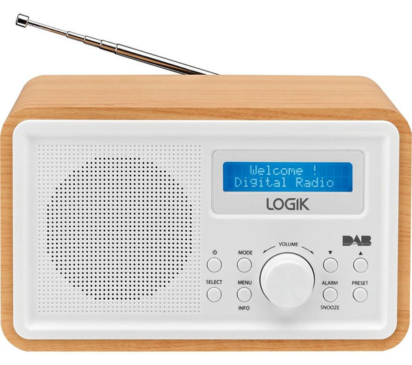 buy logik lhdr15 portable dab fm clock radio light wood white free. Black Bedroom Furniture Sets. Home Design Ideas